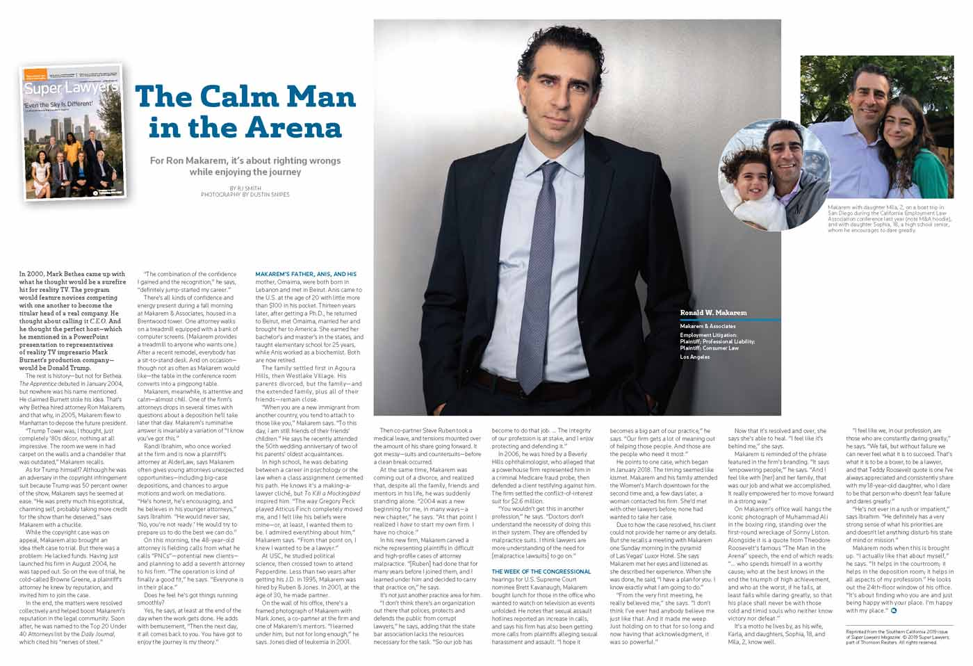 "Preview image of Super Lawyers Magazine Article ""The Calm Man In The Arena"""